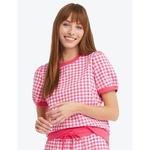 Natalie Short Sleeve Sweatshirt in Red Gingham